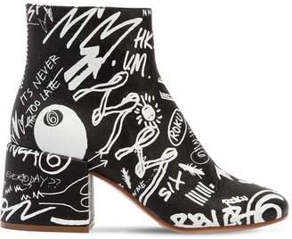 MM6 MAISON MARGIELA 65mm Graffiti Print Leather Ankle Boots