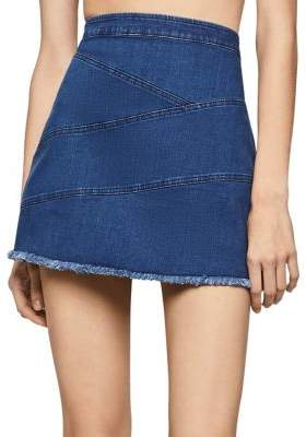 BCBGeneration Frayed Edge Denim Mini Skirt