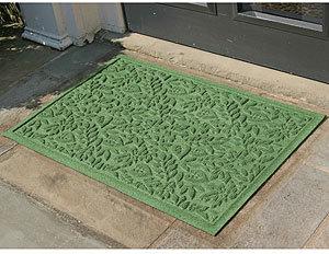 Fall Leaves WaterGuard Doormat, Light Green