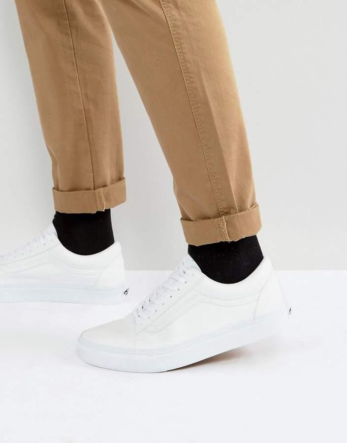 Vans Old Skool Leather Sneakers In White VA38G1ODJ