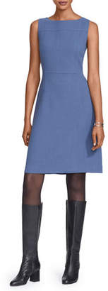 Lafayette 148 New York Jojo Bateau-Neck Sleeveless Nouveau Crepe Dress