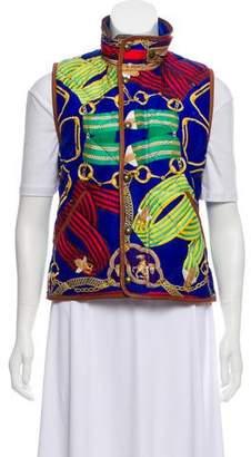 Ralph Lauren Leather-Trimmed Printed Vest