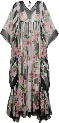 Dolce & Gabbana Silk Rose Print Maxi Kaftan Dress