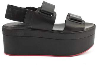 Vic Matié Black Leather Sandal With Eyelets And Velcro
