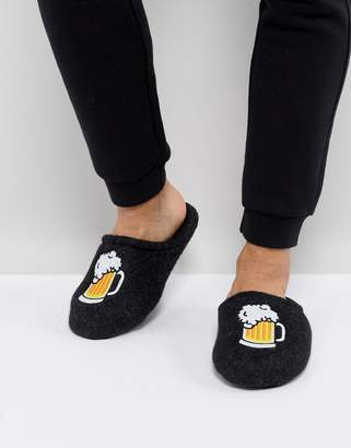 Asos Slip On Slippers In Gray With Beer Embroidery