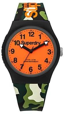 Superdry SYG164NO Unisex Urban Silicone Strap Watch, Camouflage Green/Orange