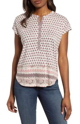 Lucky Brand Print Cap Sleeve Top