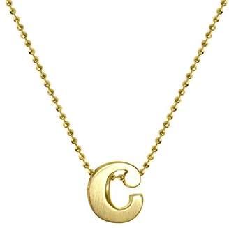 """Alex Woo Women's """"Little Letter"""" 14ct Yellow Gold C Pendant Necklace of 40cm"""