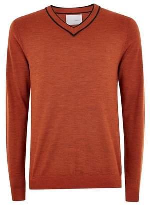 Topman Mens Orange Rust Merino Wool Tipped V Neck Sweater