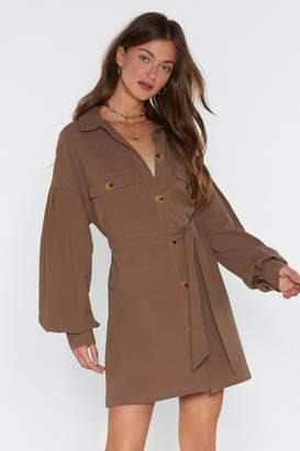 Nasty Gal Womens Get Button With It Linen Shirt Dress - Green - 12, Green