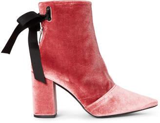 Clergerie Karlit Pointed Toe Velvet Ankle Booties
