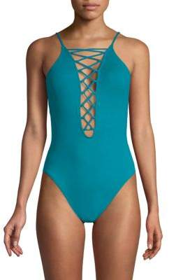 MIO Island Goddess Lace-Up One-Piece Swimsuit