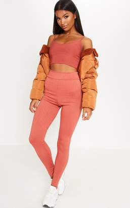 PrettyLittleThing Rust Ribbed High Waisted Leggings