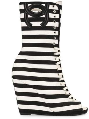 Chanel Pre-Owned striped CC wedge boots