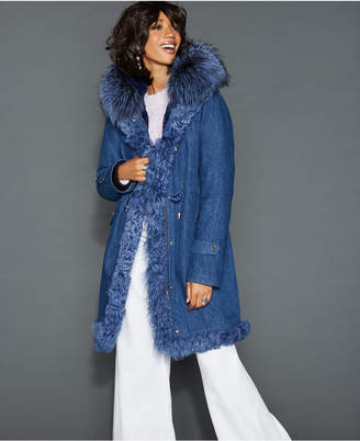 The Fur Vault Fox Lamb & Rabbit Fur-Trim Denim Parka