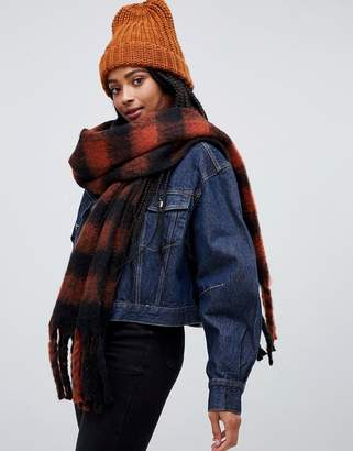 Monki check scarf in rust and rust and black