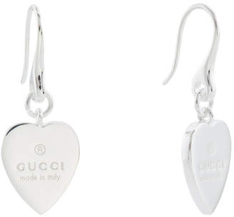 Gucci Made In Italy Sterling Silver Trademark Heart Earrings