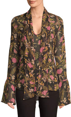 MACKINTOSH Millie Floral Tie-Front Blouse