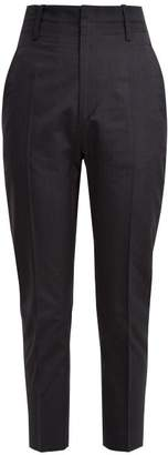 Etoile Isabel Marant Noah Cropped Cotton Blend Trousers - Womens - Navy