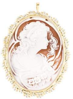 Two-Tone Diamond Cameo Brooch Pendant