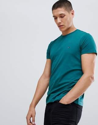 Tommy Hilfiger stretch slim fit t-shirt flag logo in dark green