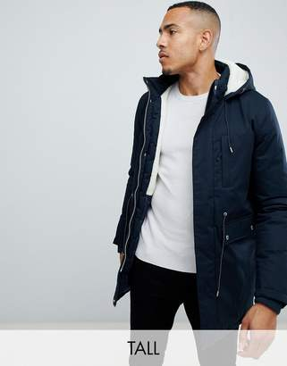 Bellfield TALL Fleece Lined Parka With Hood In Navy