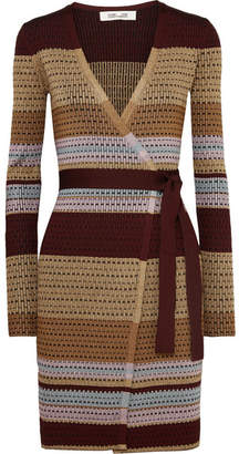 Diane von Furstenberg Metallic Striped Ribbed-knit Wrap Dress - Brown