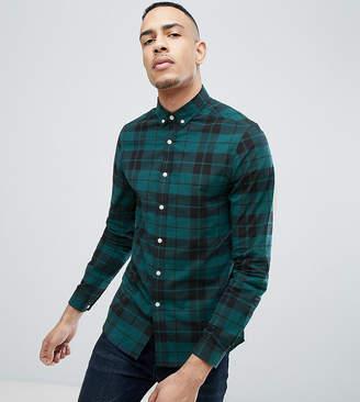 Asos DESIGN Tall stretch slim poplin check shirt in green