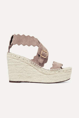 80fcdfb5575 Chloé Lauren Scalloped Suede Espadrille Wedge Sandals - Mushroom