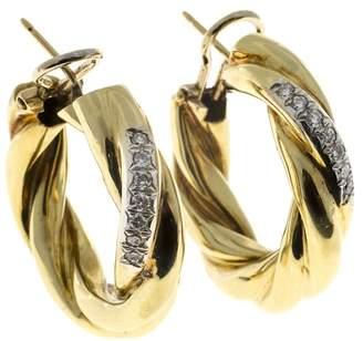 18K Yellow Gold .28ct Diamond Twist Tubing Hoop Earrings