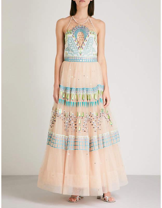 Maze halterneck embroidered-tulle dress