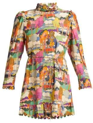 Horror Vacui - Vestia Landscape Print Silk Mini Dress - Womens - Multi