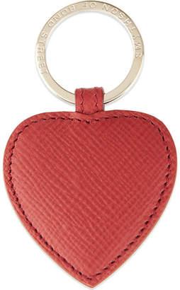 Smythson Panama leather heart keyring