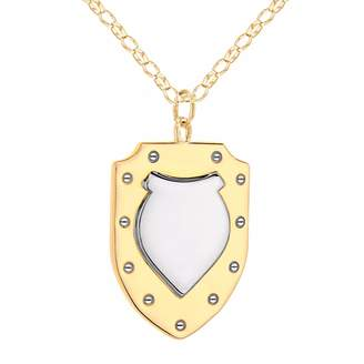 True Rocks - Two Tone Gold and Silver Vintage Style Large Shield Pendant