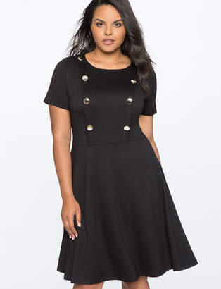 Button Front Fit and Flare Dress
