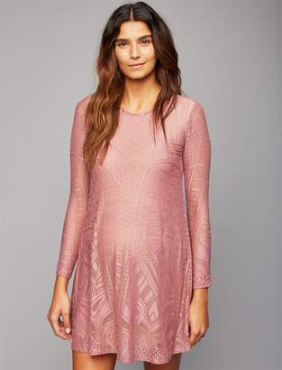 BCBGMAXAZRIA Pea Collection Lace Long Sleeve Maternity Dress