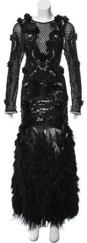Amen Couture Feather-Trimmed Embellished Dress