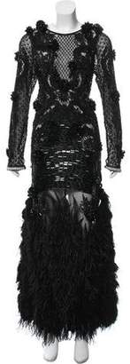 Couture Amen Feather-Trimmed Embellished Dress