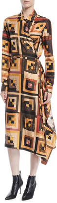 Rosetta Getty Long-Sleeve Drape Panel Patchwork-Quilt Print Silk Shirtdress