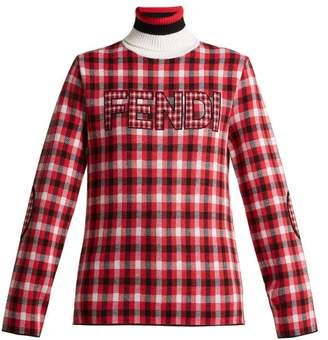 Fendi Checked Logo Virgin Wool Roll Neck Sweater - Womens - Red Multi