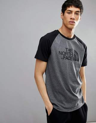 The North Face Raglan Easy Baseball T-Shirt In Grey/Black