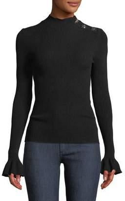Milly Mock-Neck Flutter-Cuff Ribbed-Knit Pullover w/ Gem Shoulder