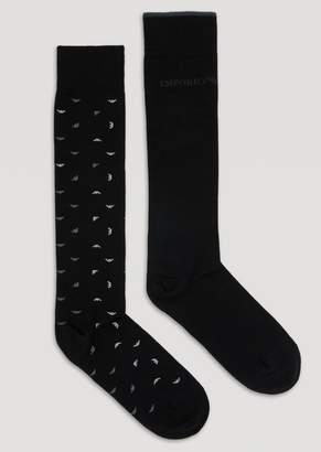 Emporio Armani Three-Pair Set Of Stretch Cotton Knitted Socks