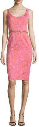 Notte by Marchesa Sleeveless Embellished Jacquard Cocktail Dress, Pink $695 thestylecure.com