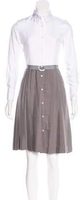 Thom Browne Silk Pleated Midi Dress w/ Tags