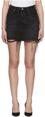 Levi's Levis Black Denim Deconstructed Miniskirt