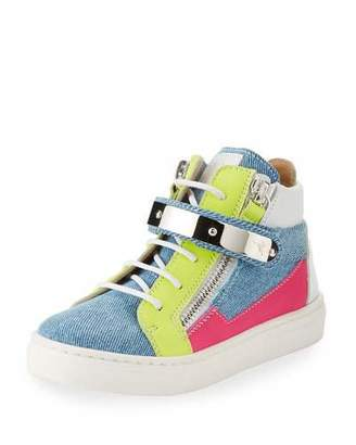 Giuseppe Zanotti Ares Denim Patchwork Sneakers, Toddler Sizes 4-9