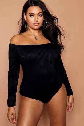 boohoo Plus Jumbo Off Shoulder Bodysuit