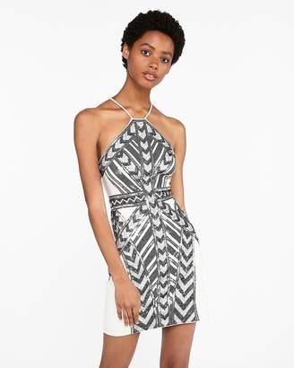 Express Petite Sequin Halter Sheath Dress