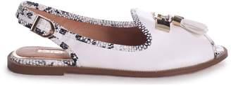 Dahlia Linzi White Nappa Sling Back Peep Toe Sandal With Snake Detail